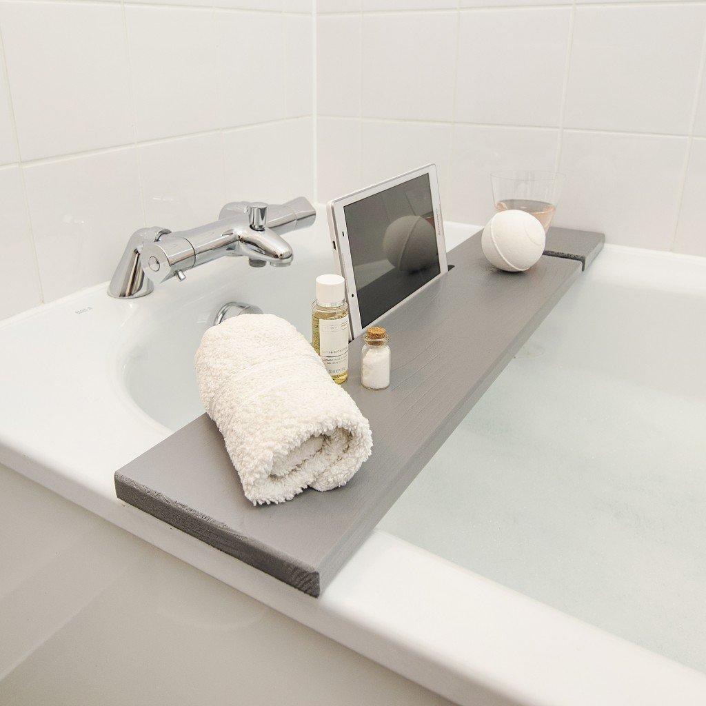 Bathtub Rack Grey Wooden Caddy Mali Board With Ipad
