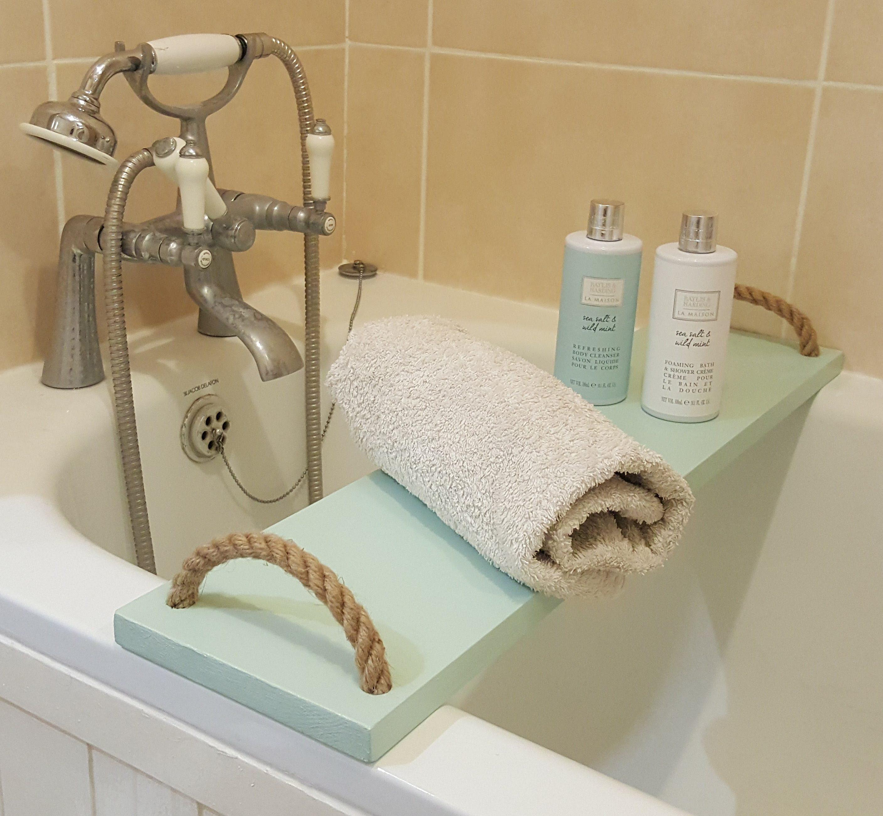 Solid Pine Bathtub Caddy Tray Rack bath Bridge Handmade Wooden With ...