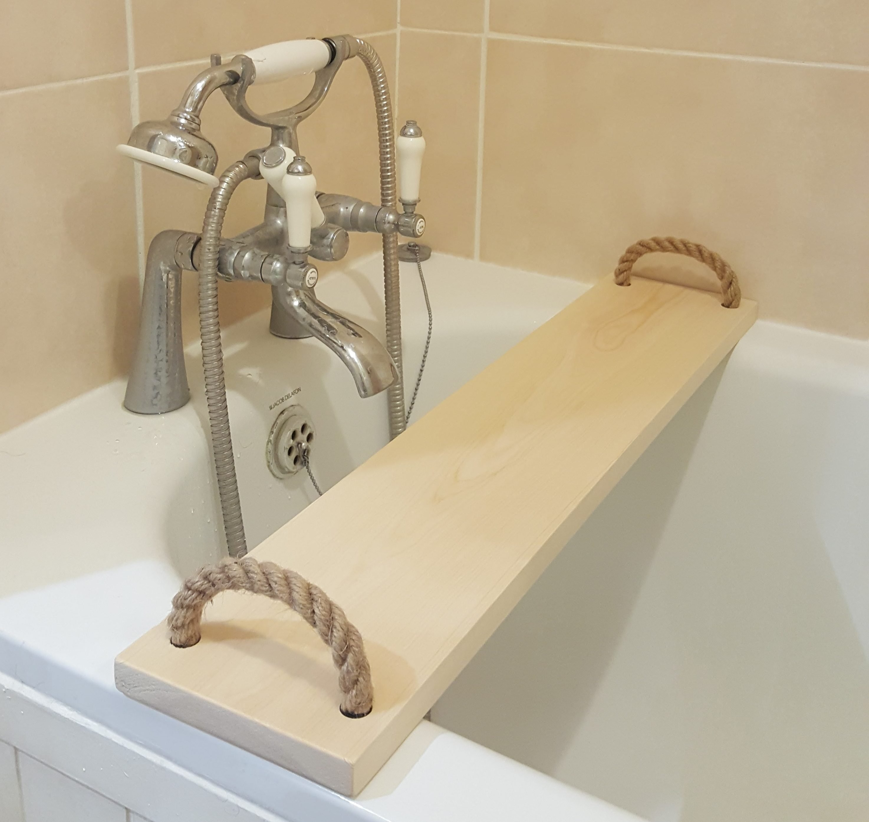 Solid Pine Wood Handmade BathTub Caddy Tray Rack bath Bridge Wooden ...