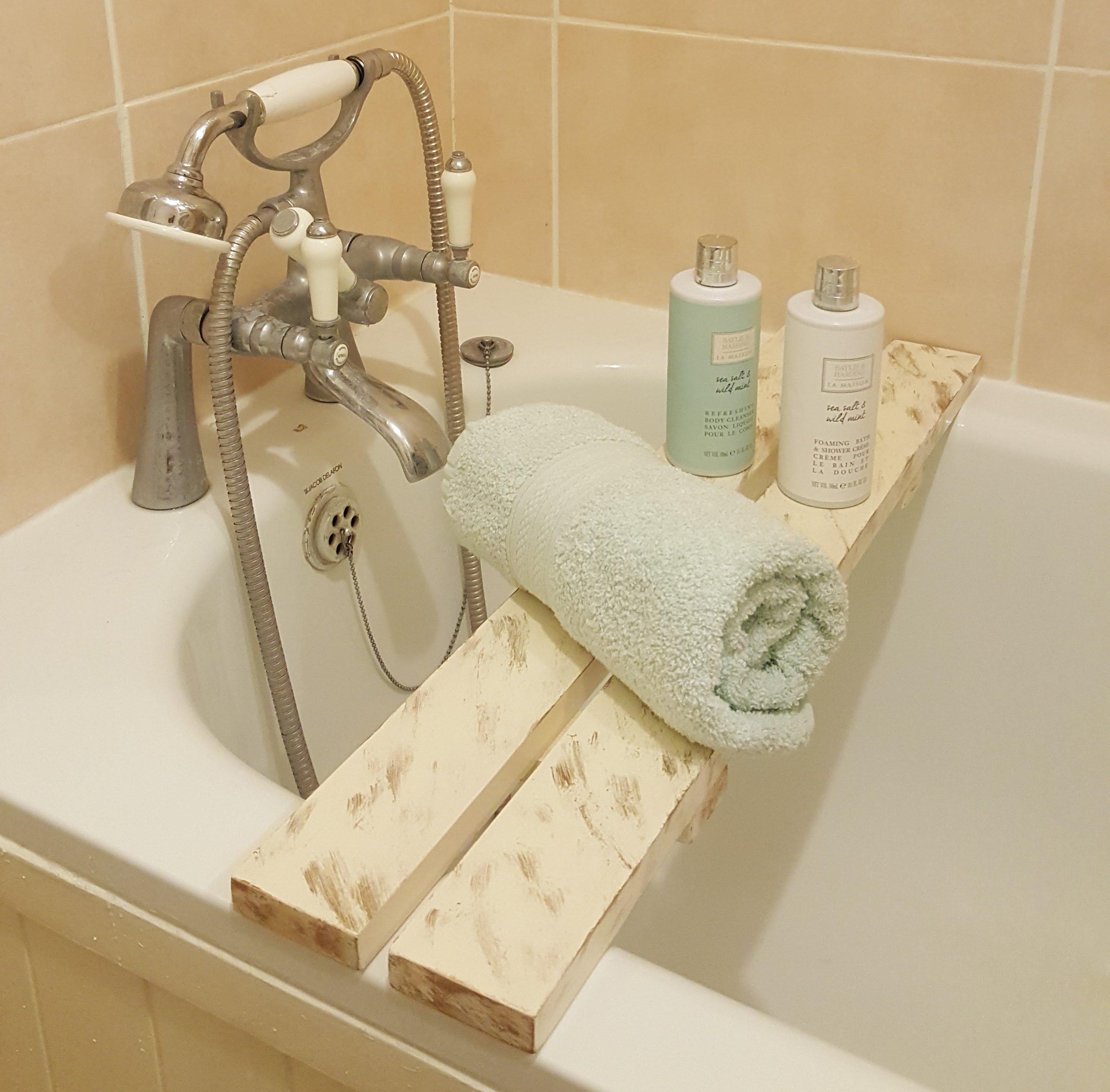 Borewood Solid Pine Wood Distressed BathTub Rack Bridge Bath Caddy ...