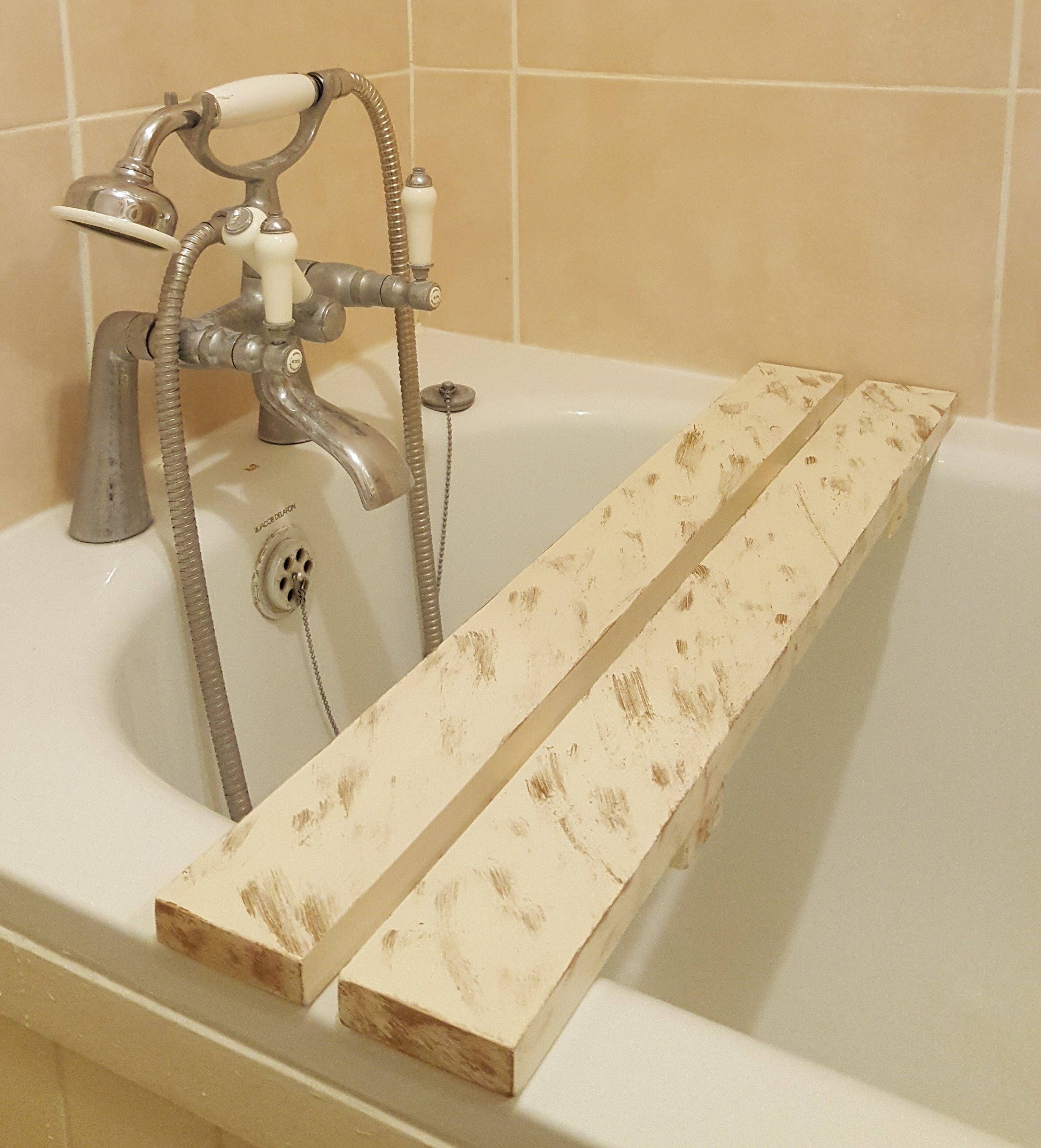 Borewood Solid Pine Wood Distressed BathTub Rack Bridge Bath Caddy ...
