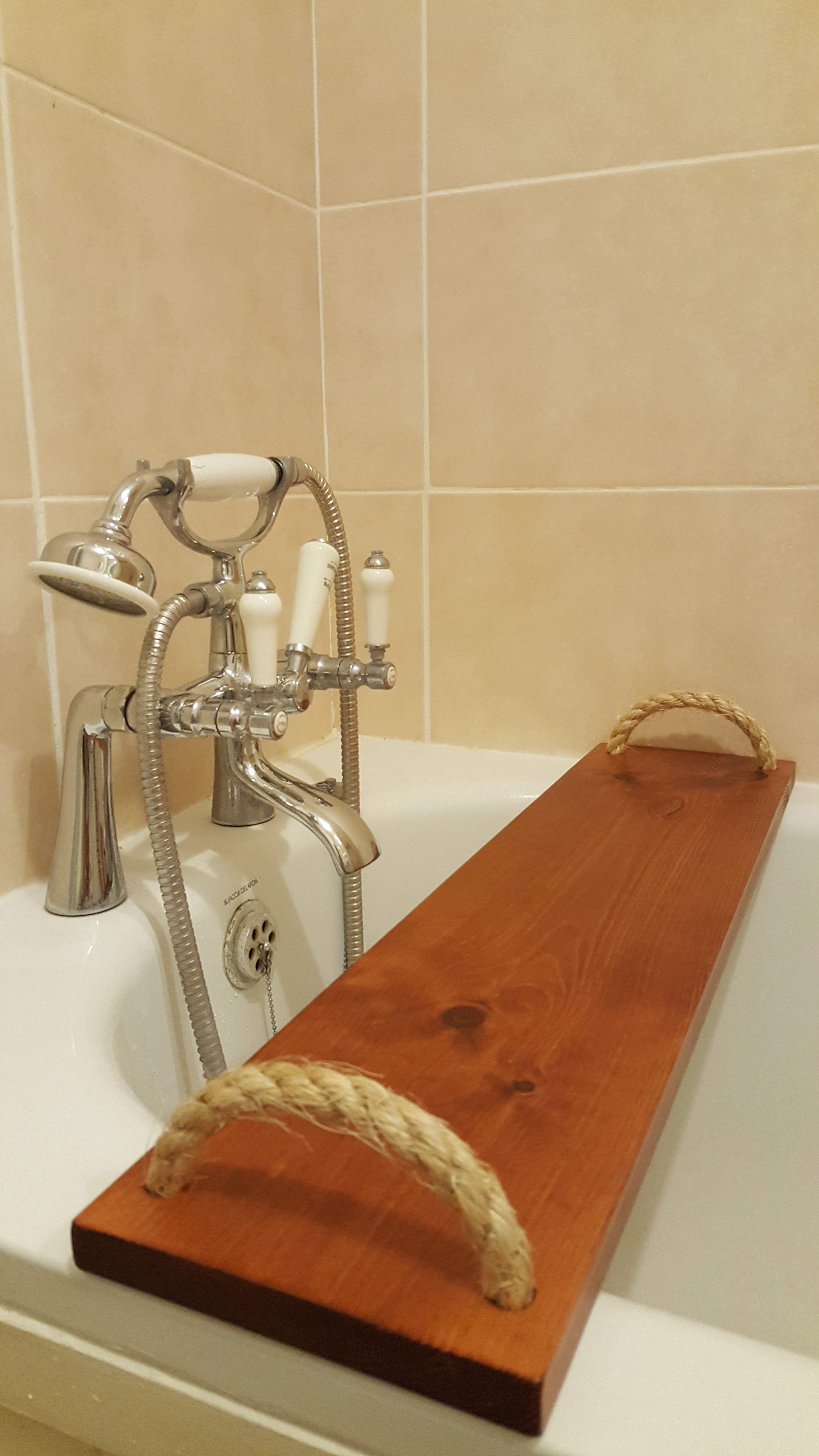 Solid Pine Wood BathTub Rack Bridge Bath Caddy Tray Wooden Handmade ...