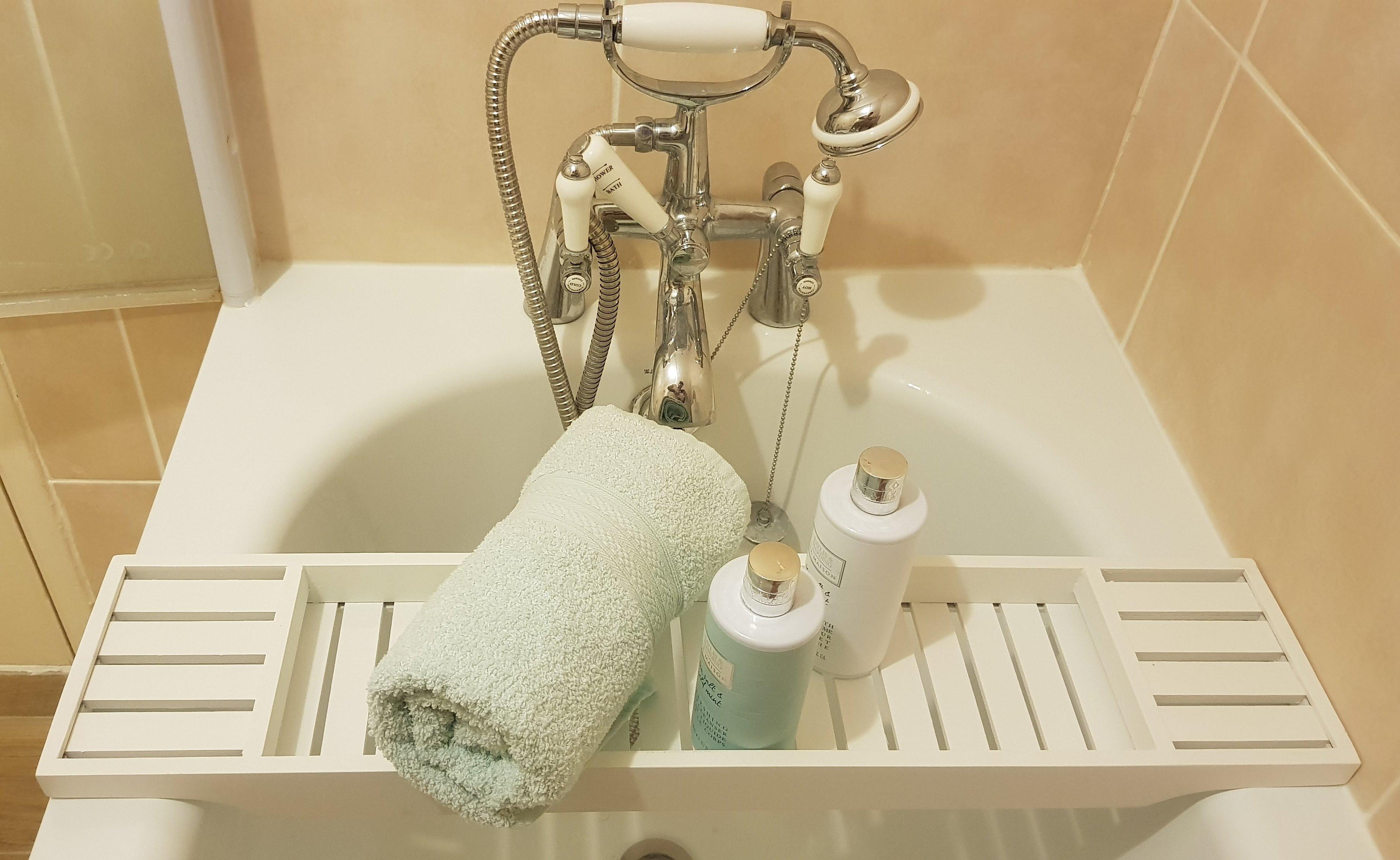 Solid Pine Wood White BathTub Rack Bridge Bath Caddy Wooden Bathroom ...