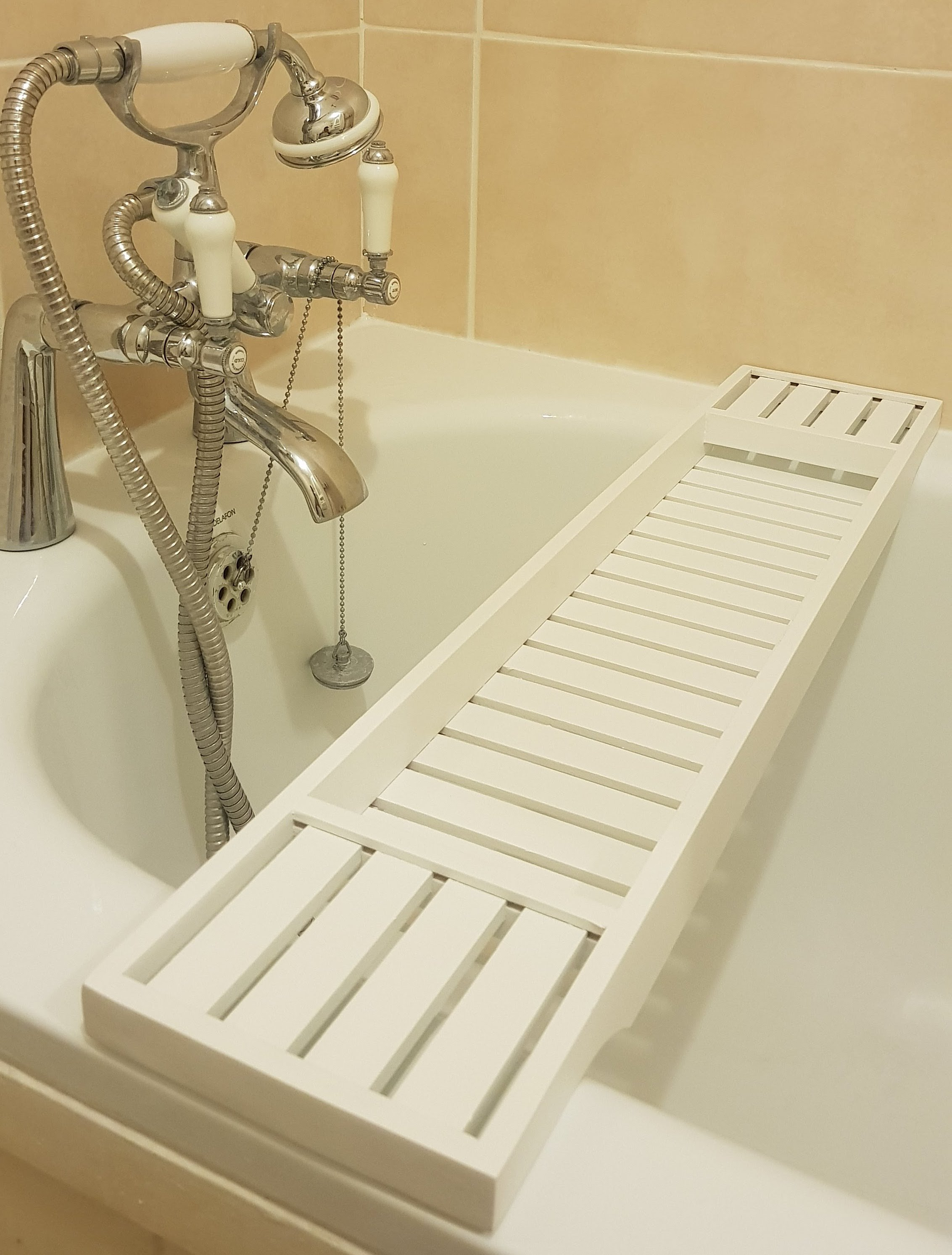 Solid Pine Wood White BathTub Rack Bridge Bath Caddy Wooden Bathroom ...